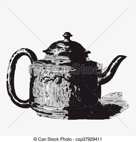 Vector Clip Art of Vintage tea pot engraving, ephemeral vector.