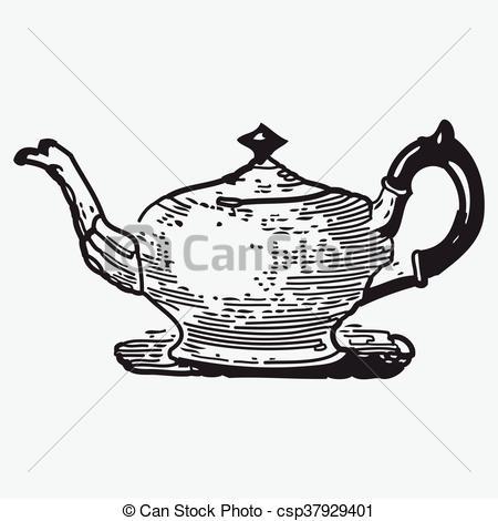 Vector Clipart of Vintage tea pot engraving, ephemeral vector.