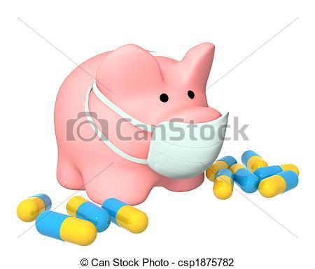 Clip Art of Epidemic of a swine flu.