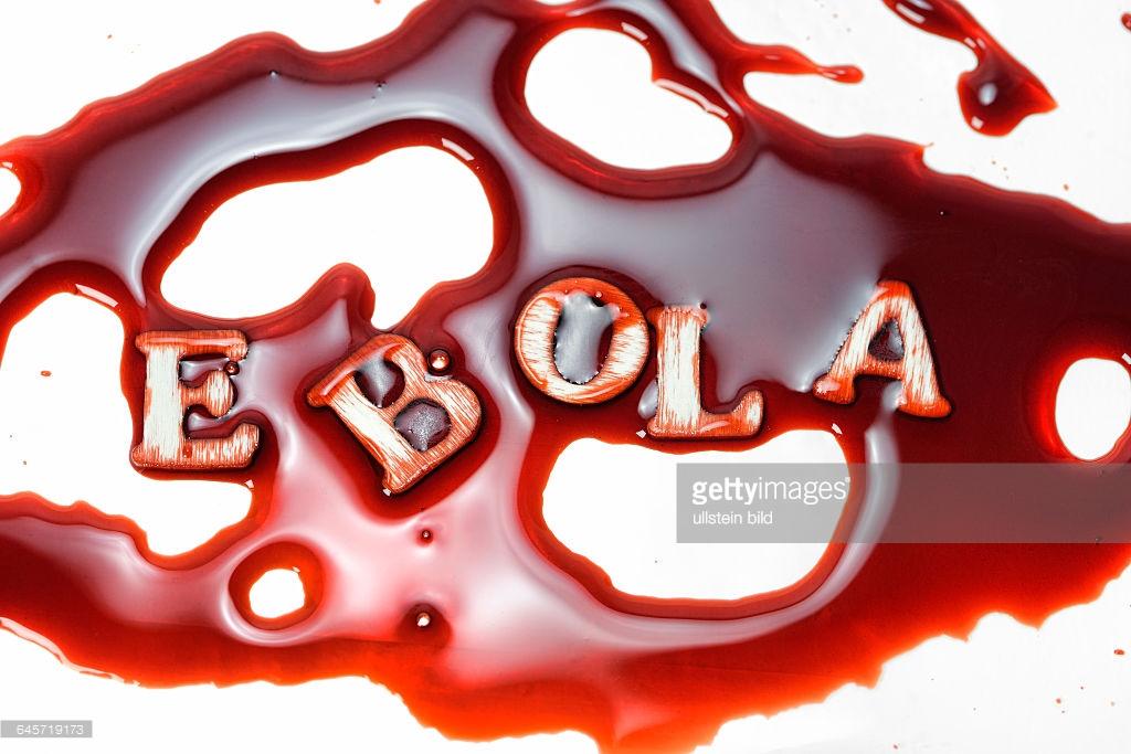 Schriftzug Ebola in Blut, Ebola.