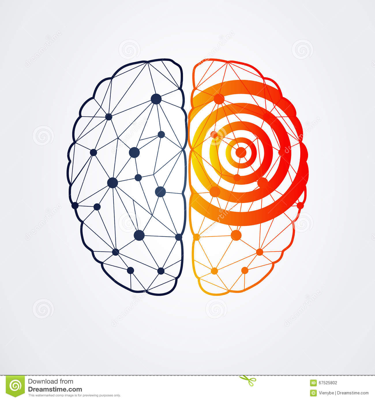 Human Brain With Epilepsy Activity, Vector Illustration Stock.