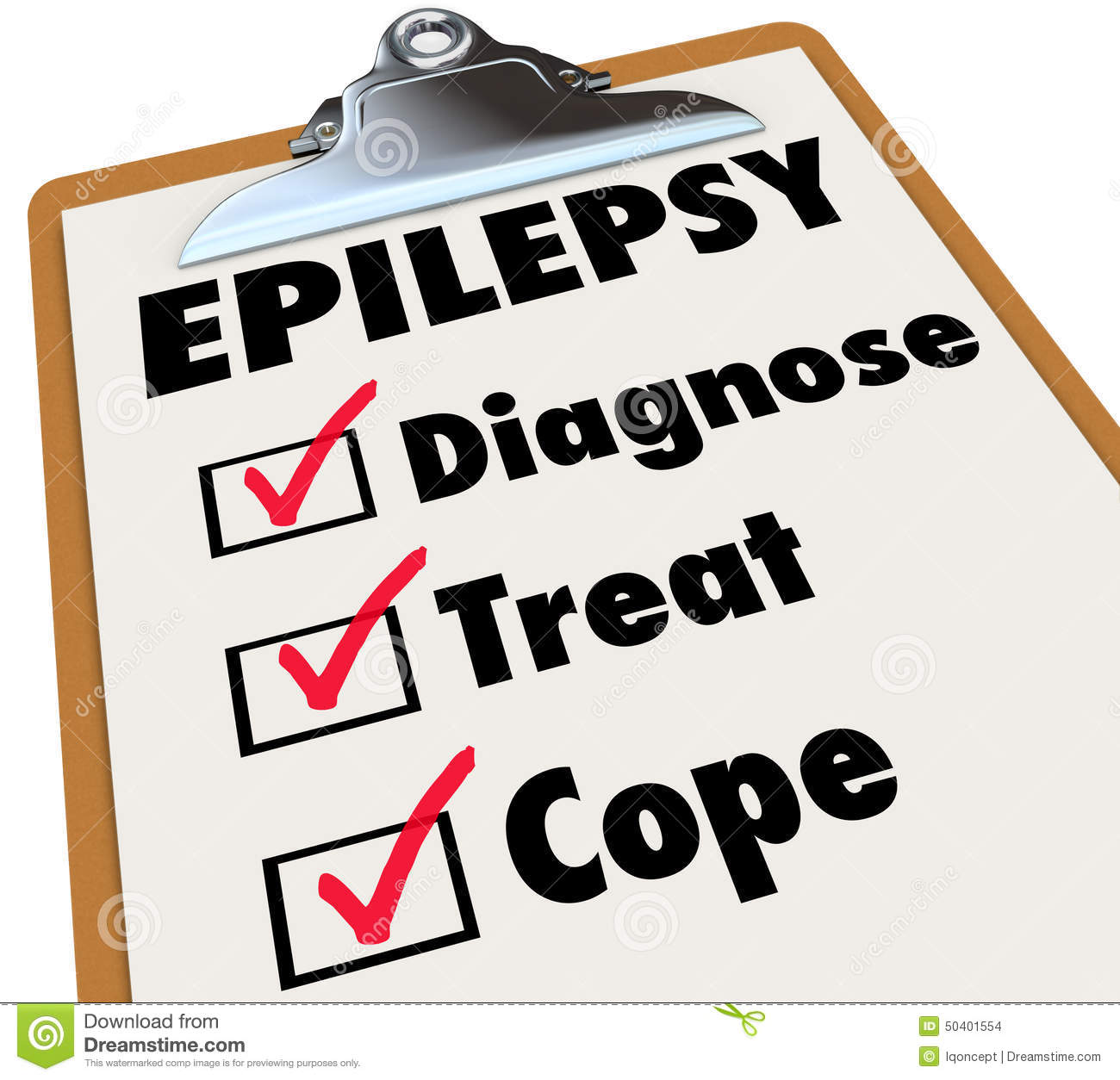 Epilepsy Check List Clipboard Diagnose Treat Cope With Disorder.