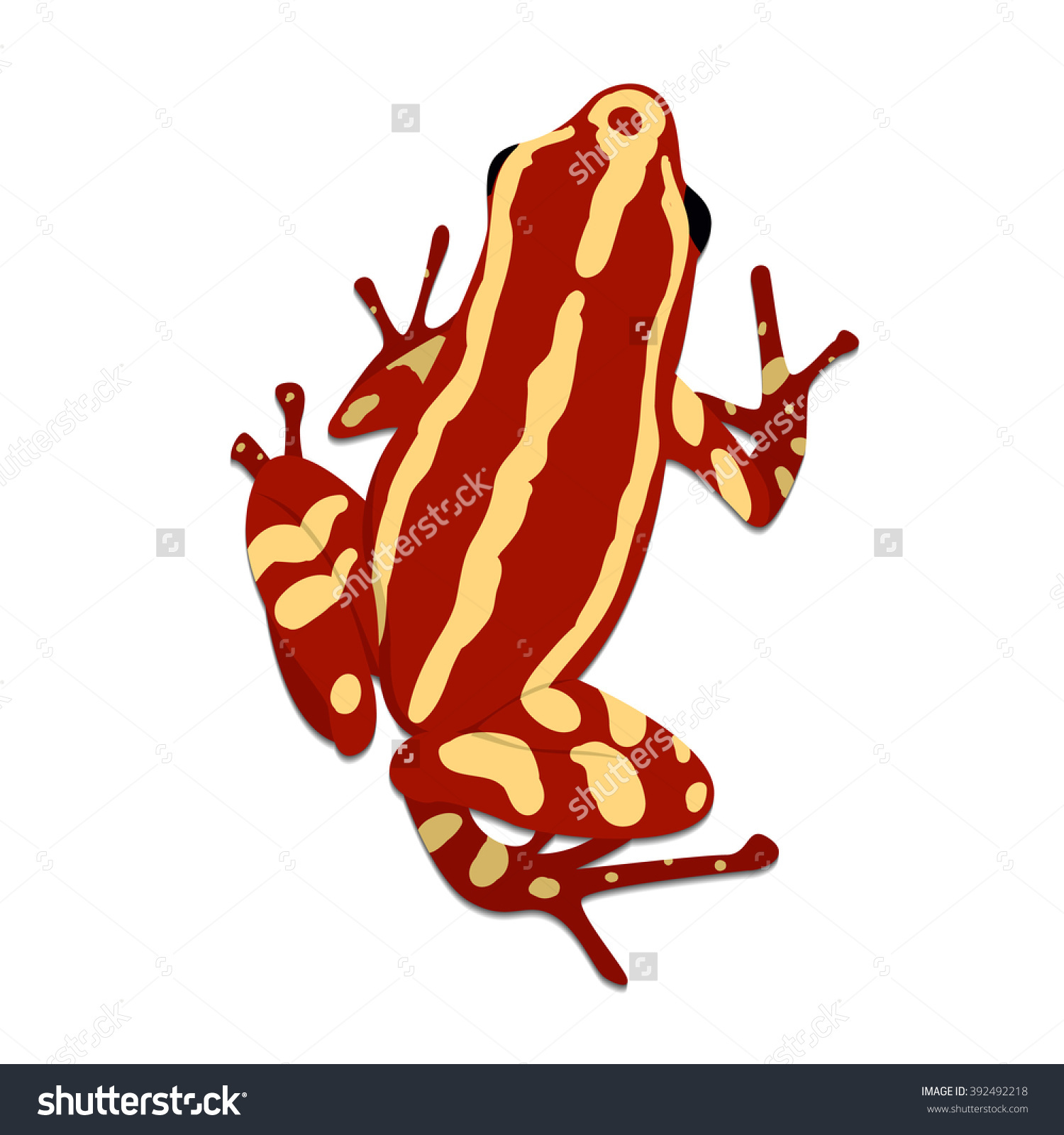 Phantasmal Poison Frog, Flat Design. Vector Illustration Of Red.