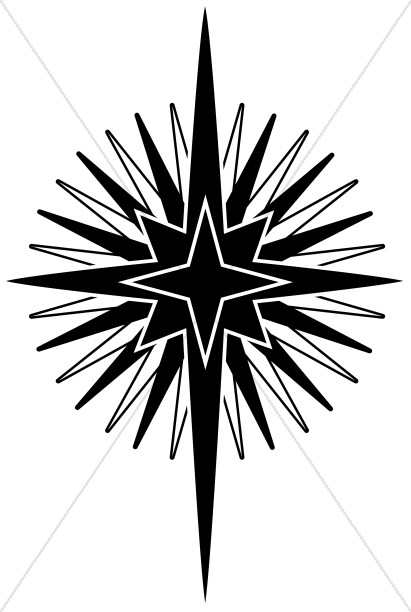 Big Nativity Star in Black and White.