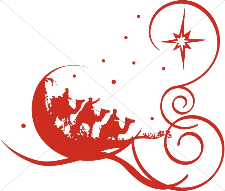 Decorative Red Epiphany Clipart.