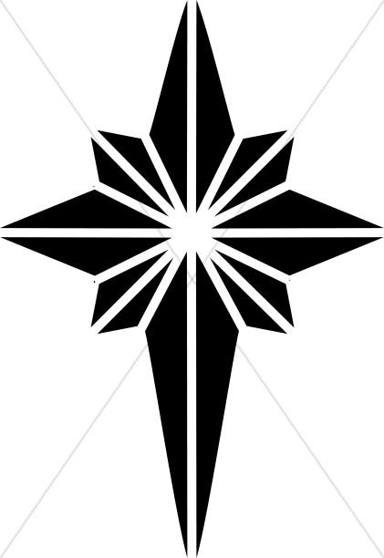 Black and White Nativity Star Clipart.