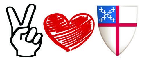 Peace, Love, Episcopal Church Bumper Sticker.