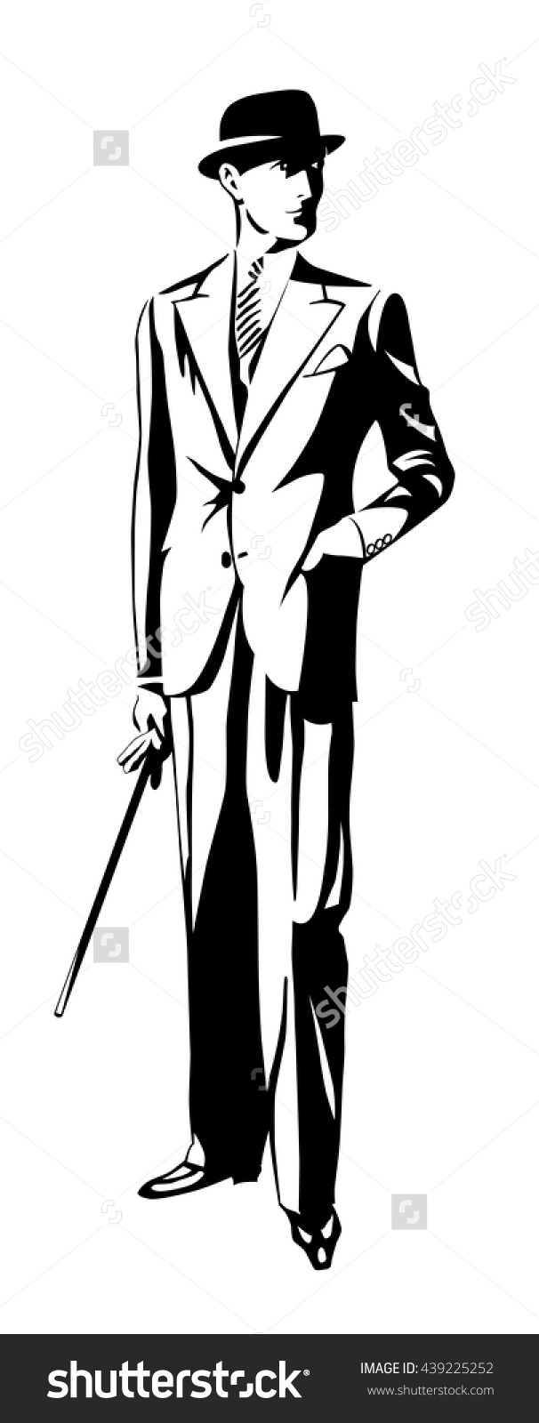 Standing Man Suit Hat Hand Pocket Stock Vector 439225252.