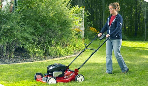 Women Mowing Lawn Clipart.