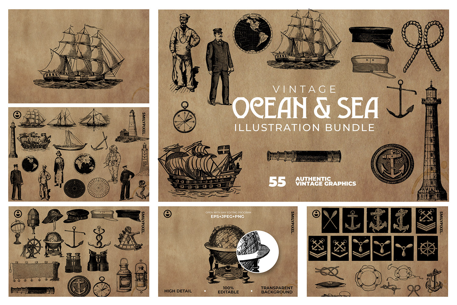 55 Ocean and Sea Clipart. Collection of various nautical.