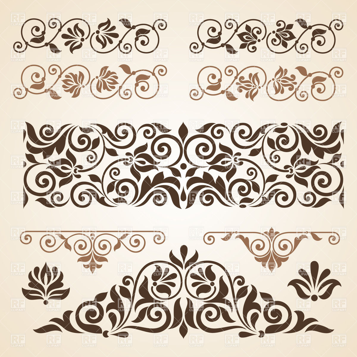 Vintage curly horizontal borders, 29051, Borders and Frames.