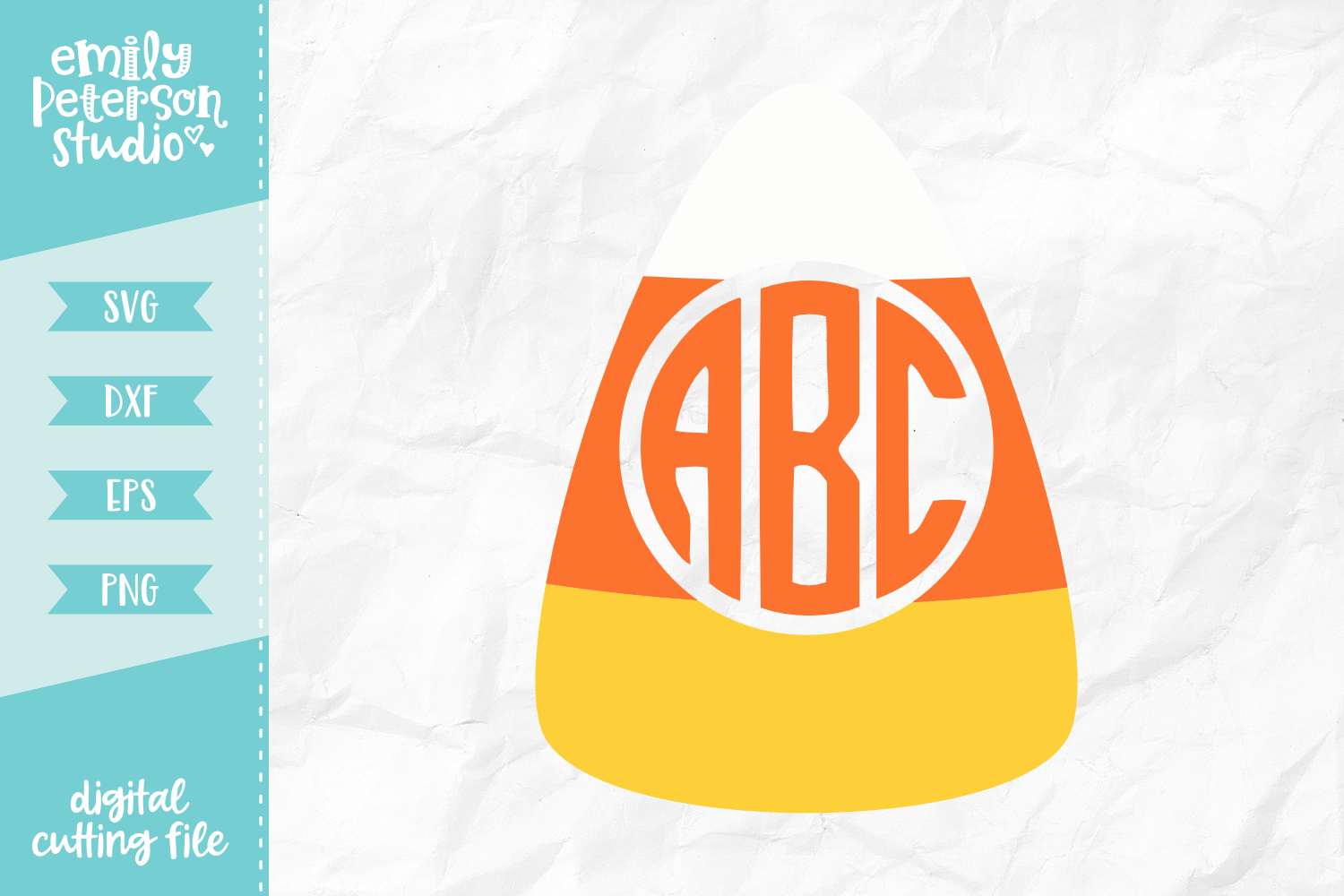 Candy Corn Monogram Frame SVG DXF EPS PNG.