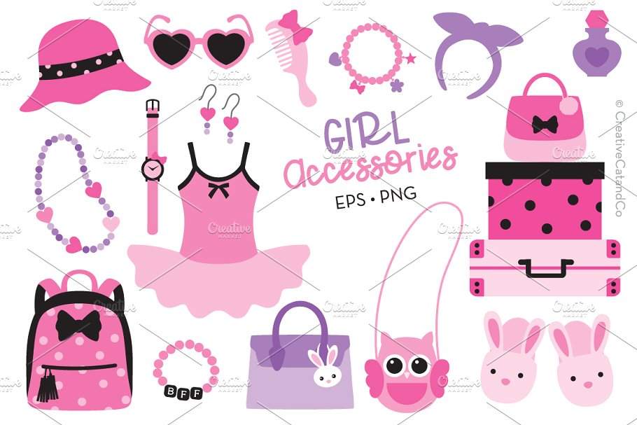 Girl Fashion Accessories EPS PNG.