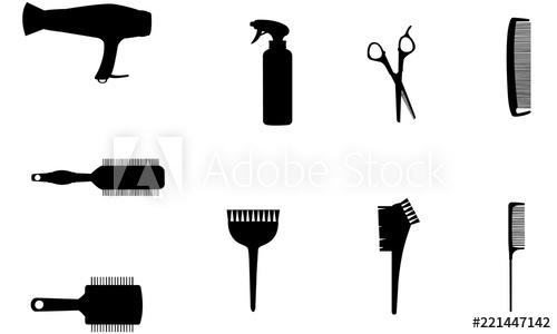 Hairdresser Tools Silhouette, SVG, cricut Clipart, Vector.