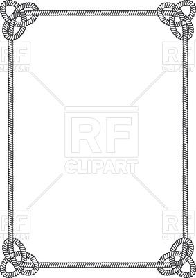 Frame of rectangular sea rope with sea knots Stock Vector.