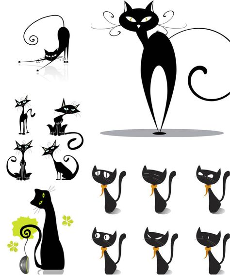 Black cat illustrations vector.
