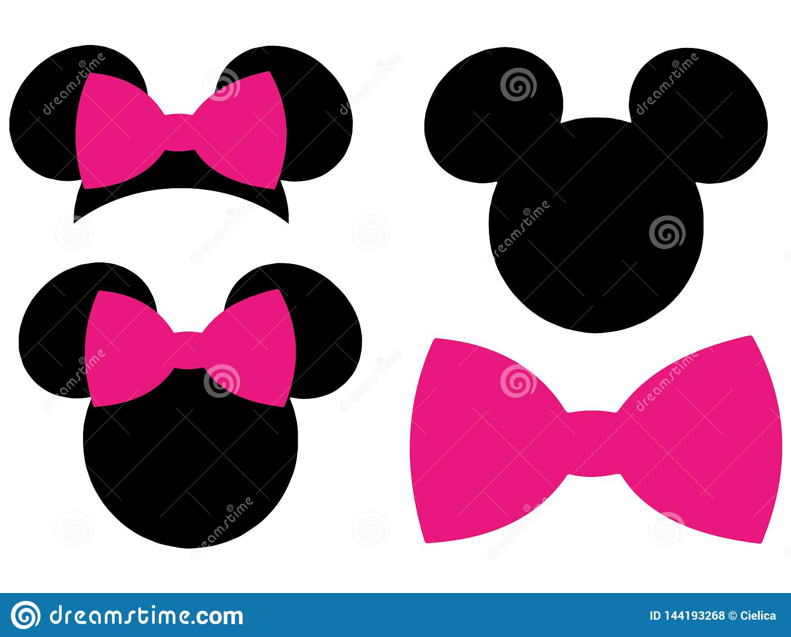 Minnie Mouse Mickey Mouse Head Bow EPS Vector Clipart Cutting Files.
