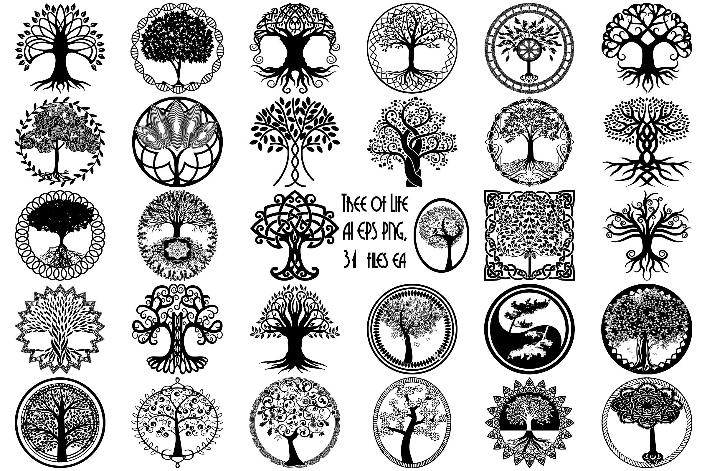 Tree of Life Silhouettes AI EPS Vector & PNG.