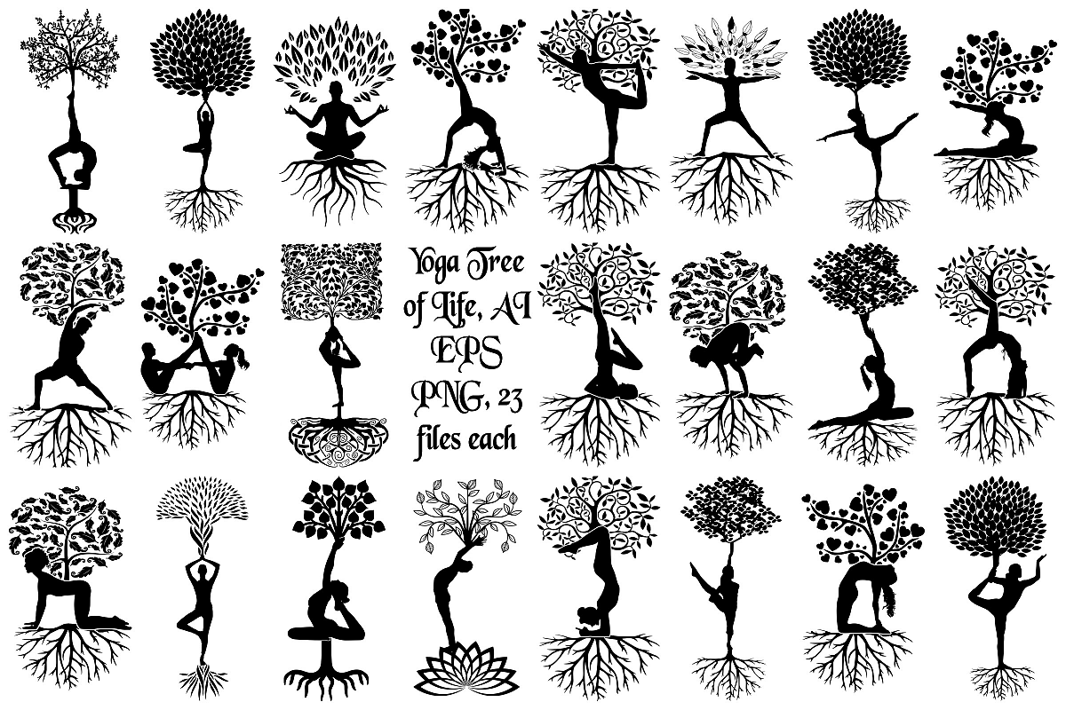 Yoga Tree Silhouettes AI EPS Vector & PNG.