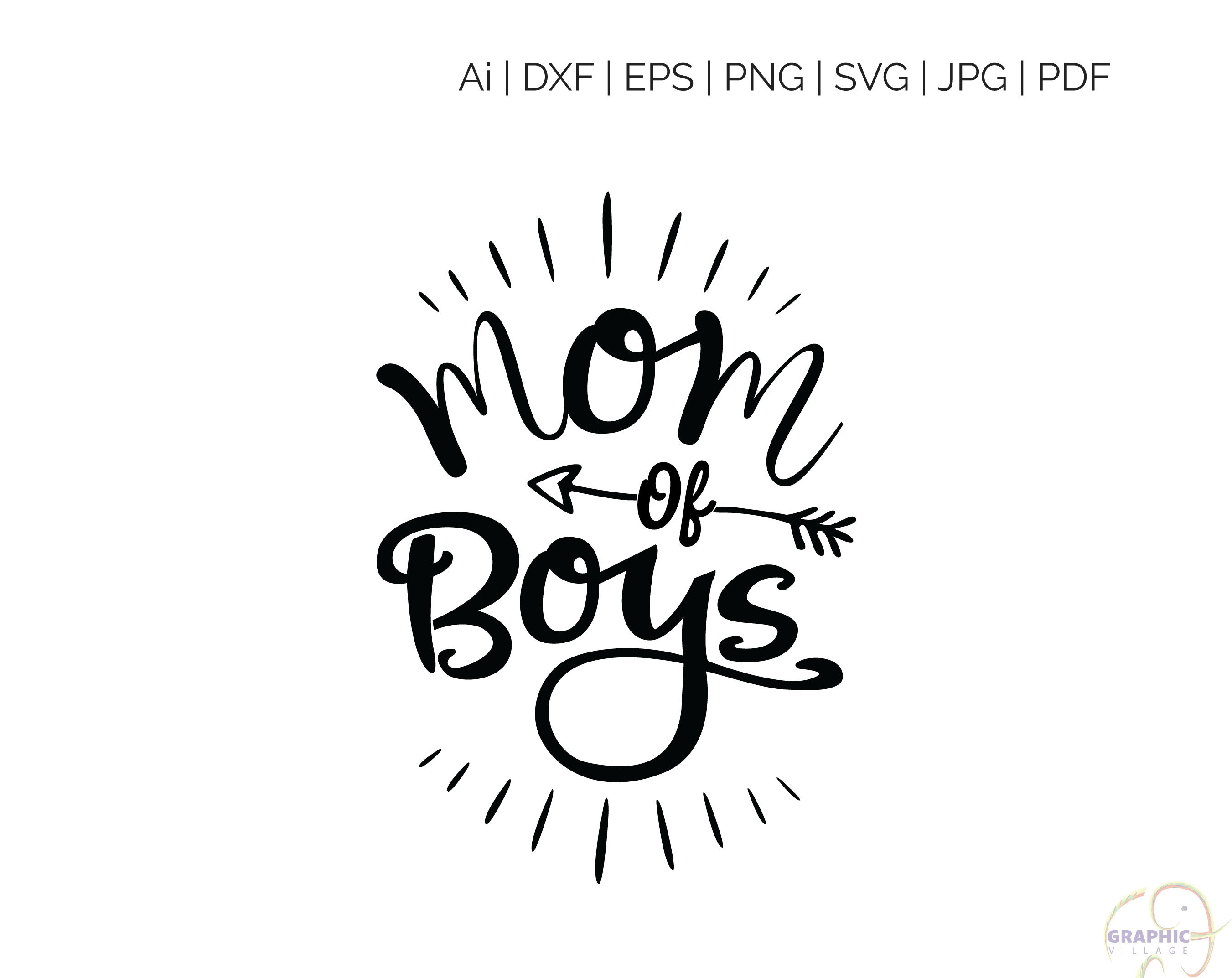 Mom of Boys SVG, EPS. Vector Clipart Digital Silhouette and cricut Cut  Cutting file, Mom of Boys, svg files, svg file for silhouette.