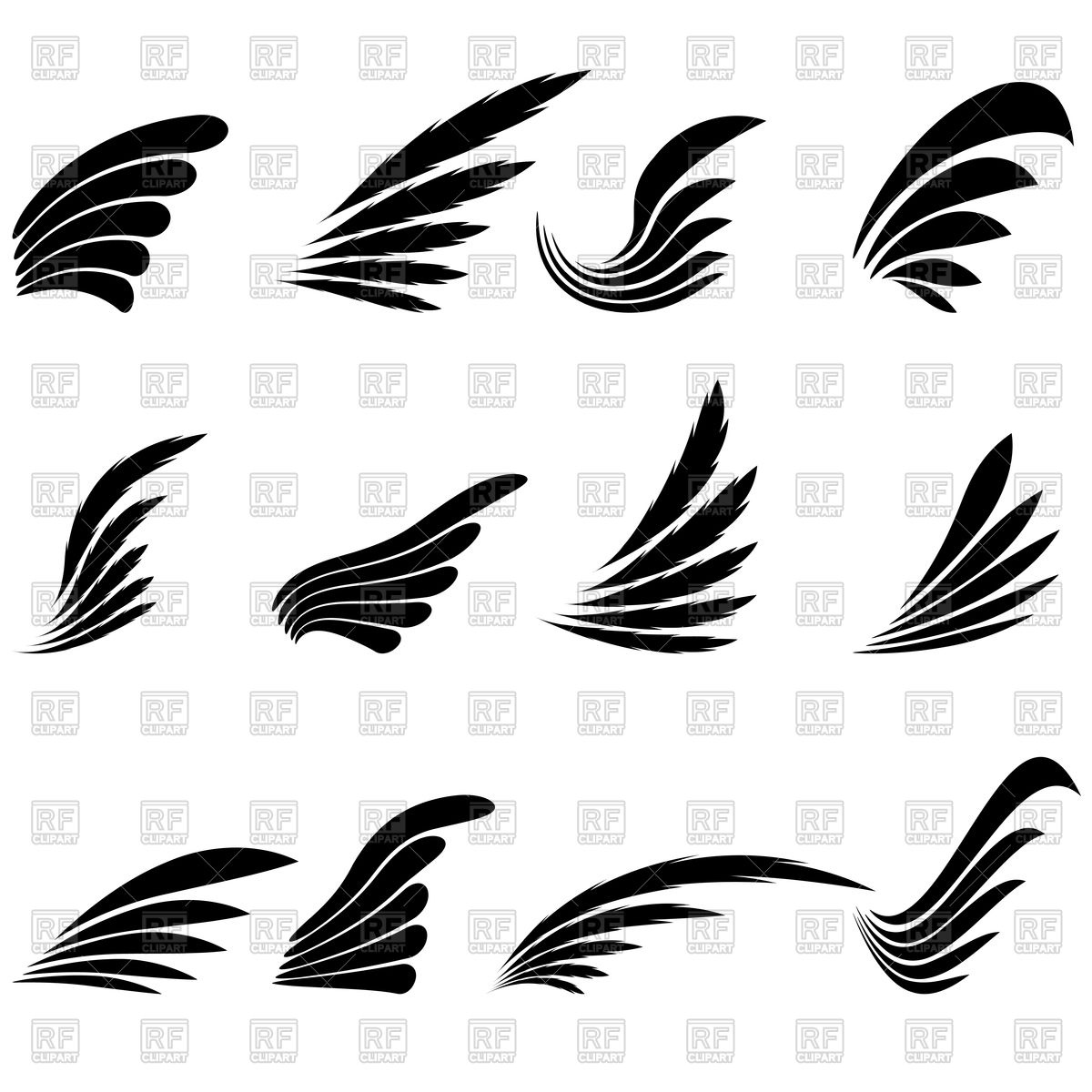 Set of Wings Stock Vector Image.