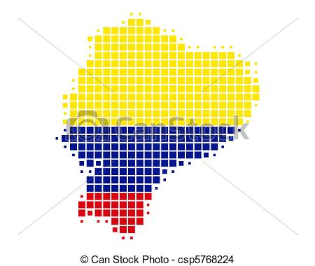 EPS Vector of Map and flag of Ecuador csp5768224.