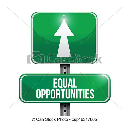 Clip Art Vector of equal opportunities road sign illustrations.