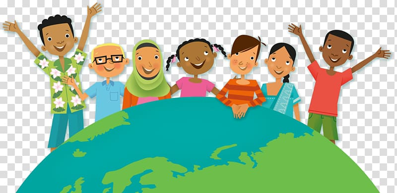 Group of children and earth illustration, Equality and.