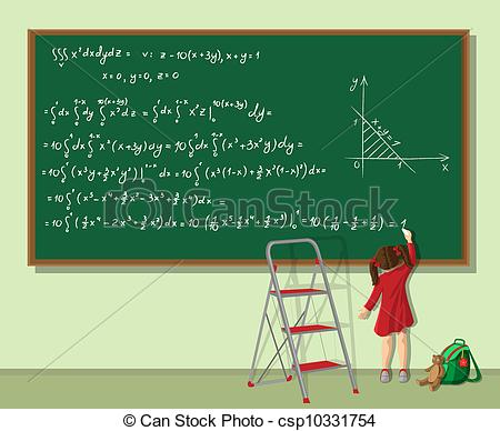 Clipart Vector of Girl solves the equation.