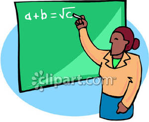 Teacher Writing a Math Equation on the Chalkboard Royalty Free.
