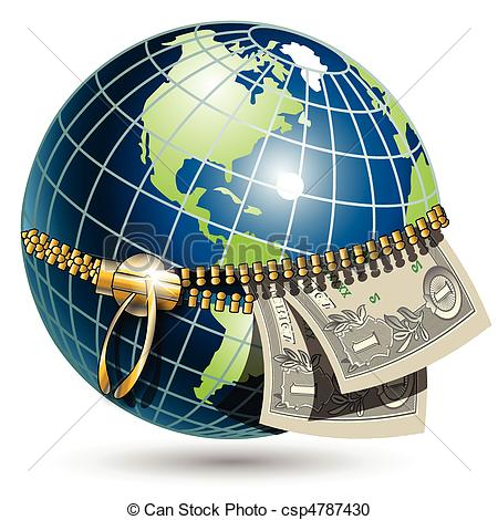 Vector Clipart of Globe with dollar.