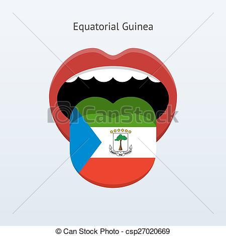 Clip Art Vector of Equatorial Guinea language. Abstract human.