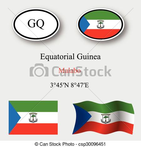 Clipart Vector of equatorial guinea icons set against gray.