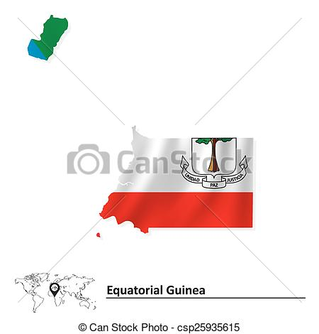 Vector Clip Art of Map of Equatorial Guinea with flag.