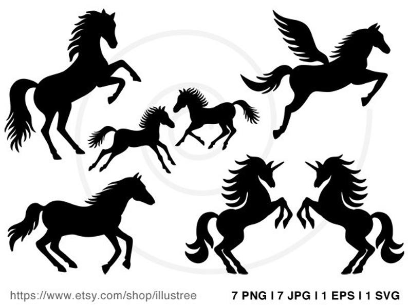 Horse silhouettes digital clip art, equestrian clipart, horse riding,  unicorn clip art, commercial use, EPS, SVG files, instant download.