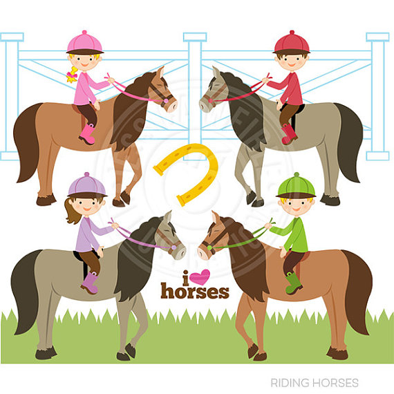 Riding Horses Cute Digital Clipart Commercial by JWIllustrations.