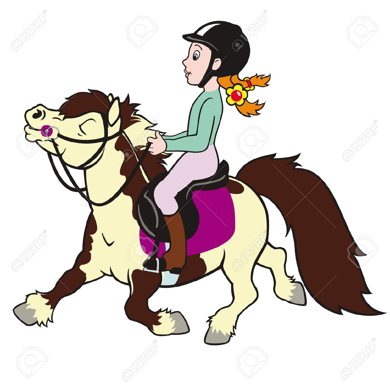 Horse Pony And Girl Rider ,child Riding Small Horse,equestrian.