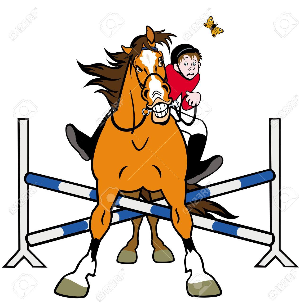 Equestrian Sport,horse Rider In Jumping Show,cartoon Illustration.