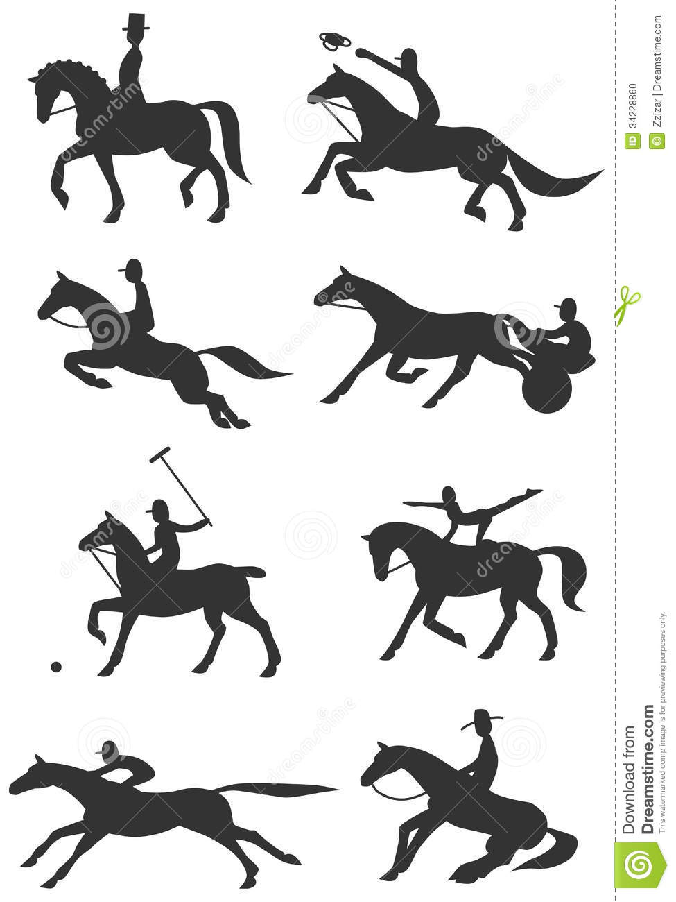 Icons Equestrian Sports Stock Photo.