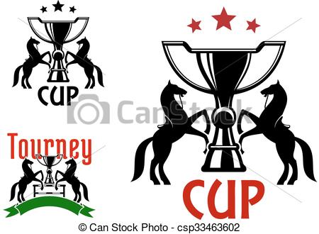 Vector Clipart of Equestrian sport icons with horses and trophies.