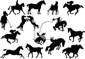 Silhouette of Different Equestrian Riders and Horses.