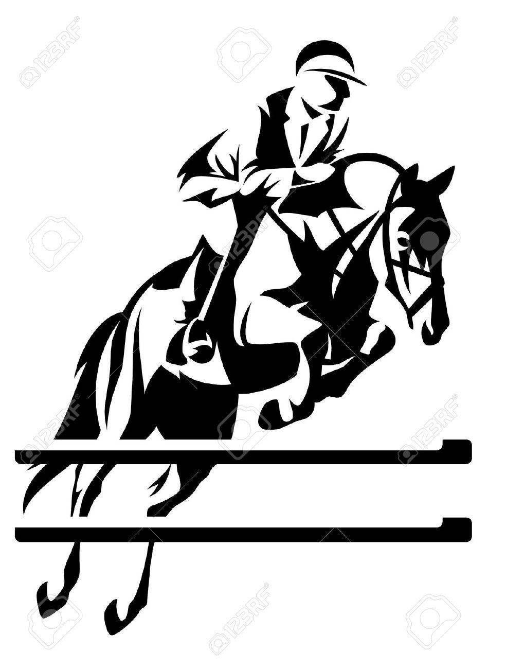 Show Jumping Horseman Vector Design.