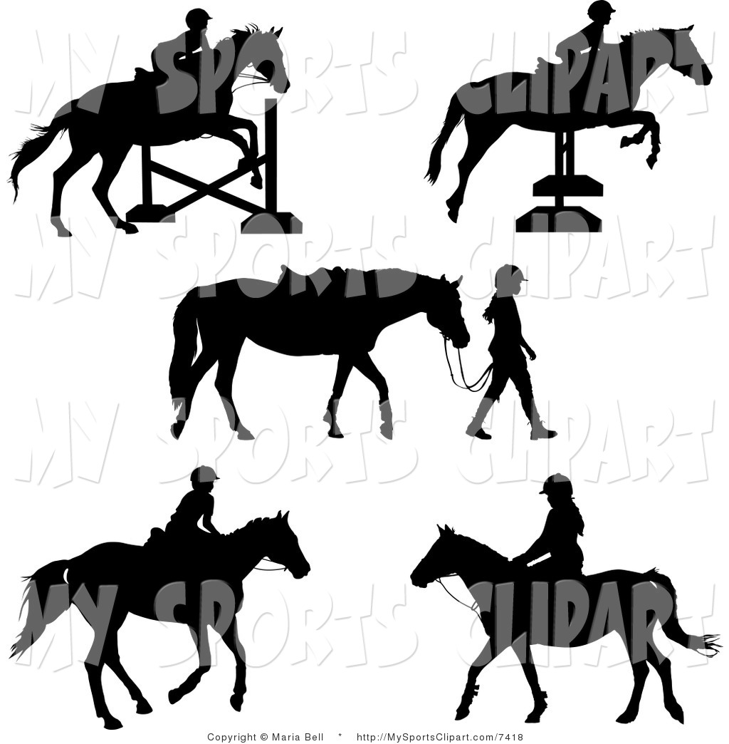 Sports Clip Art of a Horses and Equestrian Girls by Maria Bell.