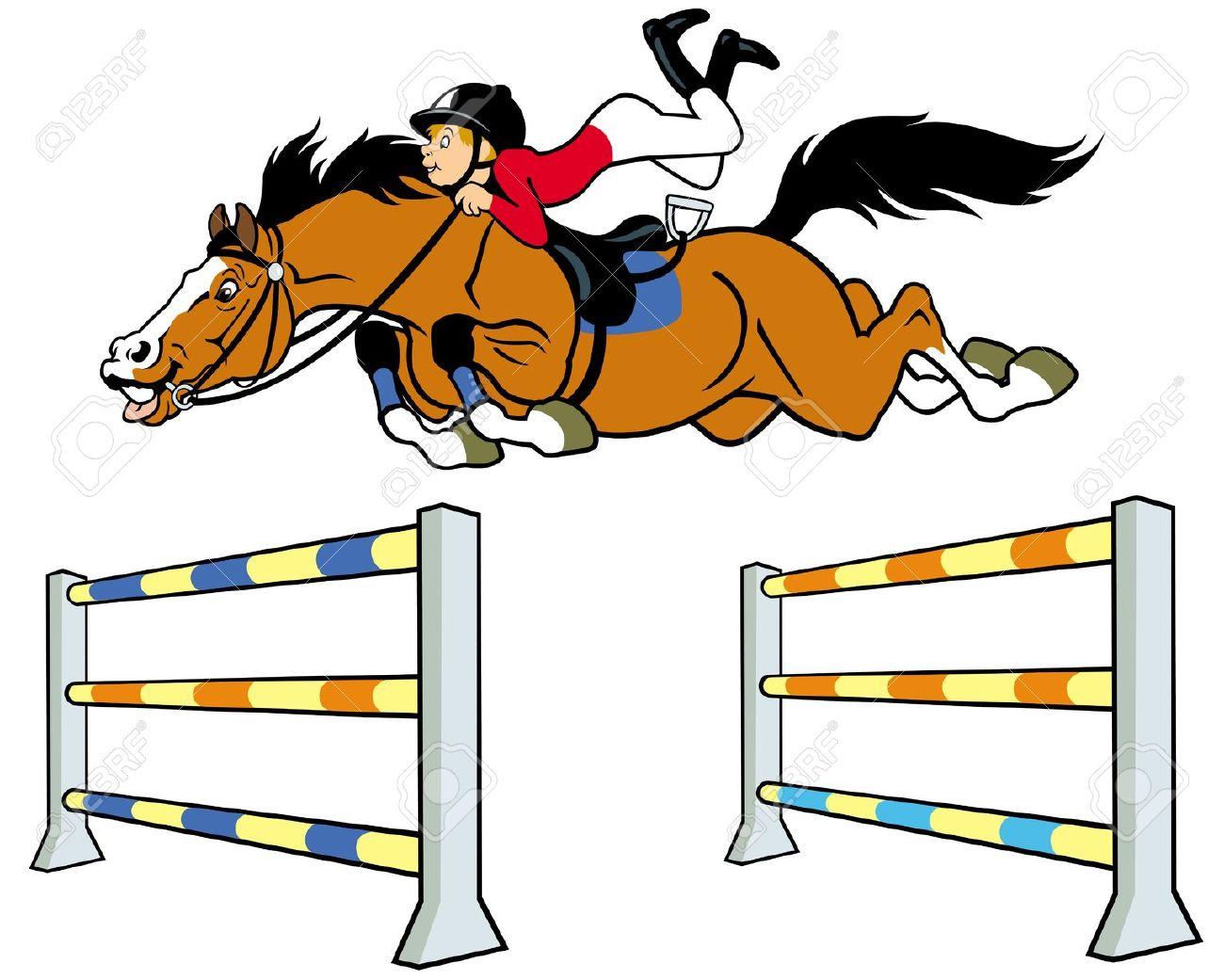 Equestrian Sport,boy With Horse Jumping A Hurdle,cartoon.