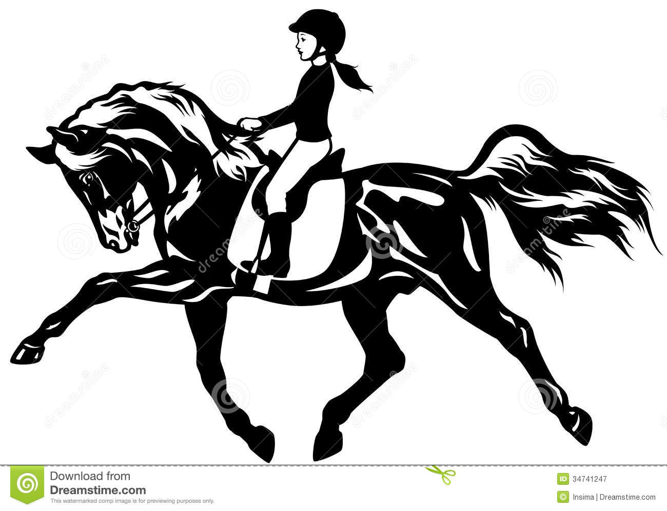 Woman Horseback Riding Clipart.