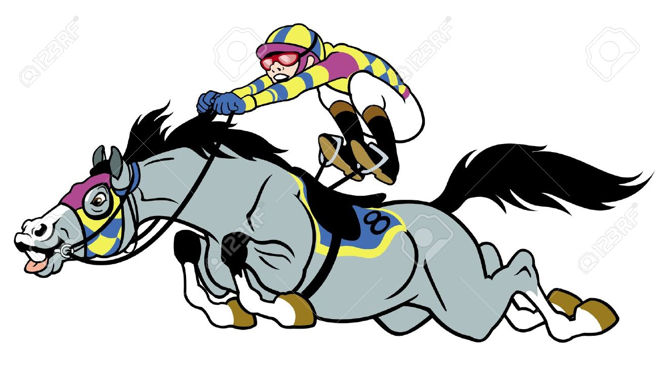 Derby,equestrian Sport,racing Horse With Jockey,cartoon Picture.