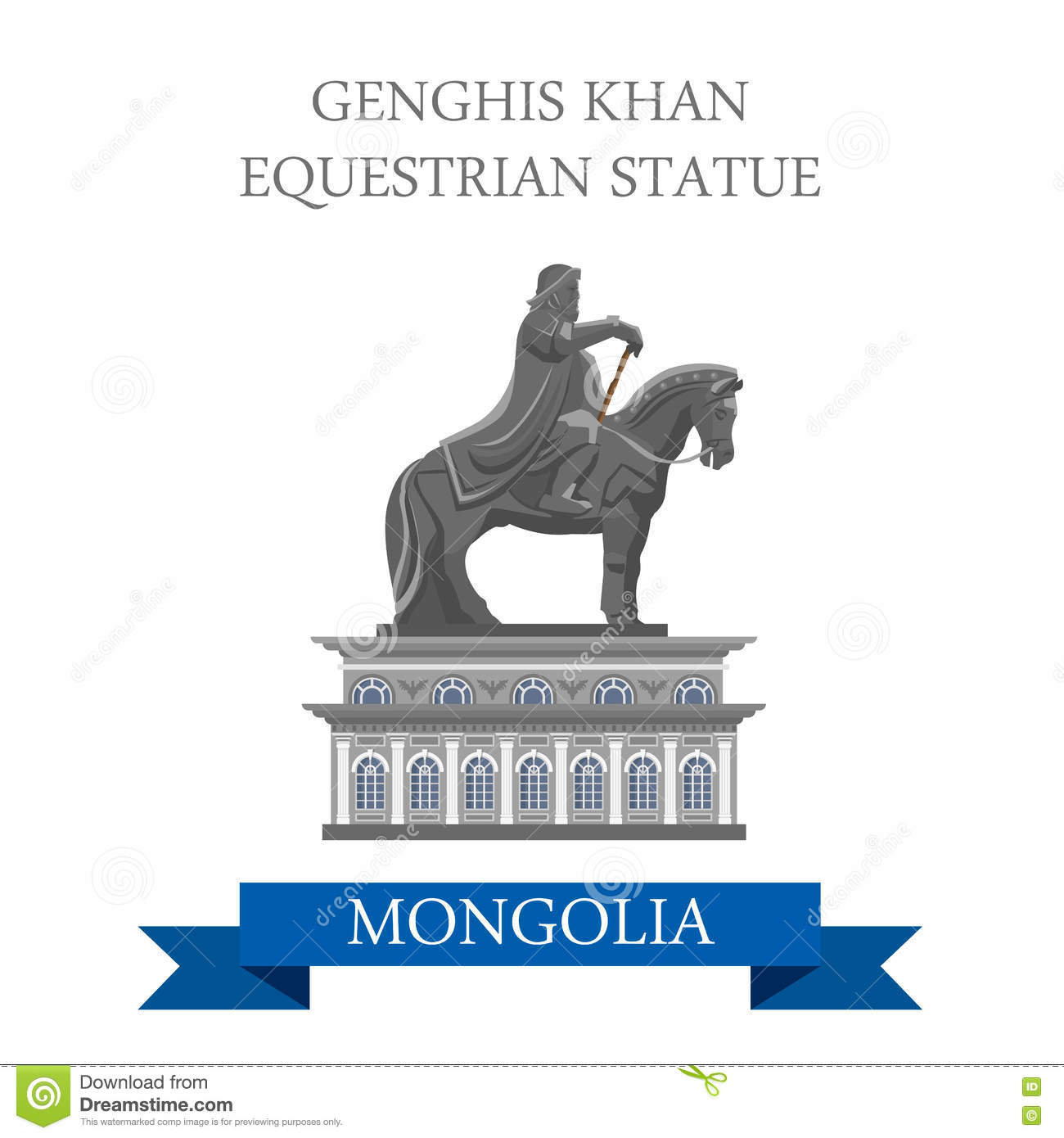 Genghis Khan Equestrian Statue Mongolia Vector Flat Attraction.