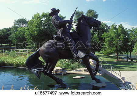Picture of equestrian statue, Leavenworth, KS, Kansas, Buffalo.