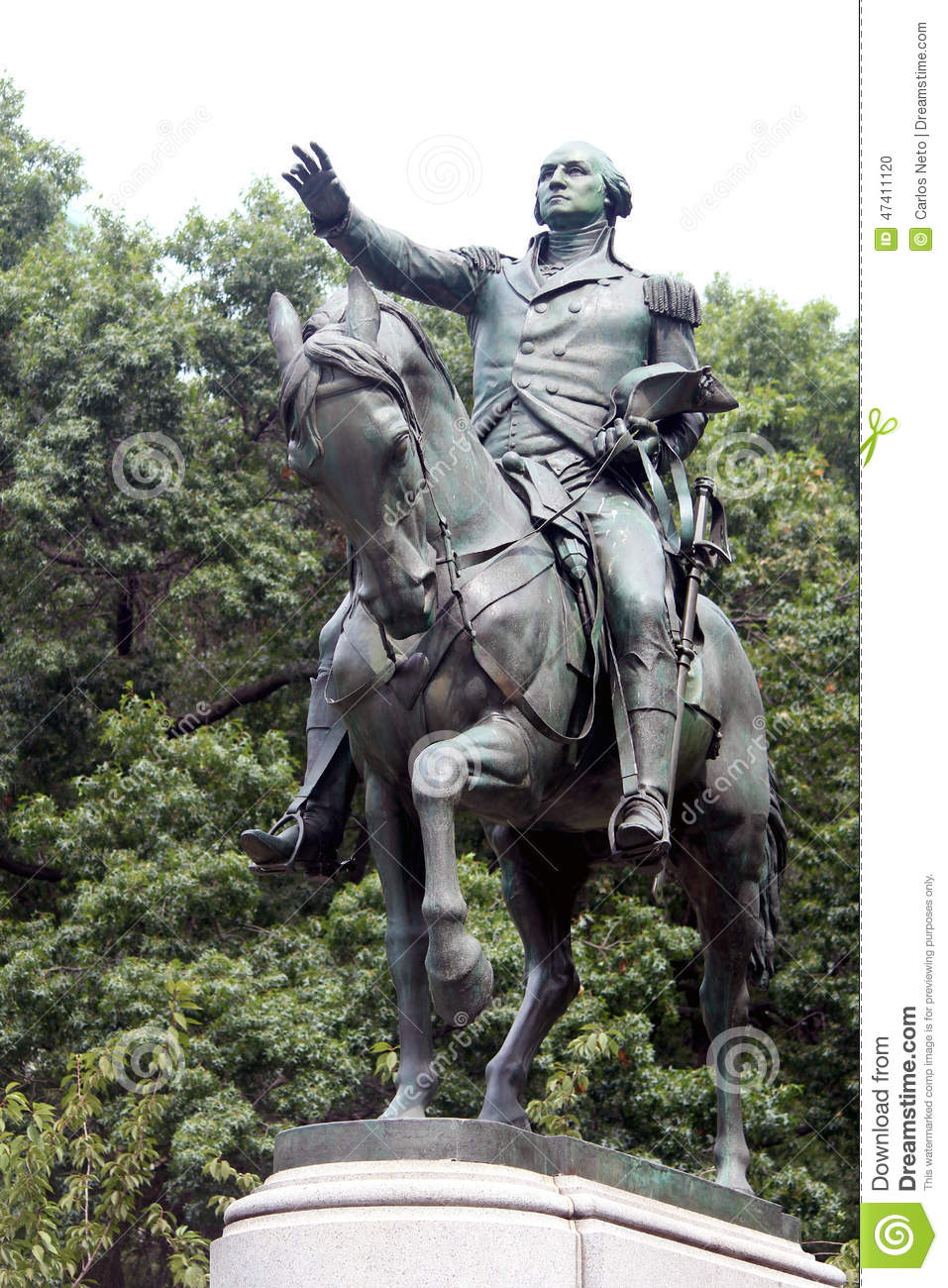 Equestrian Statue Of General George Washington, In The South Sid.