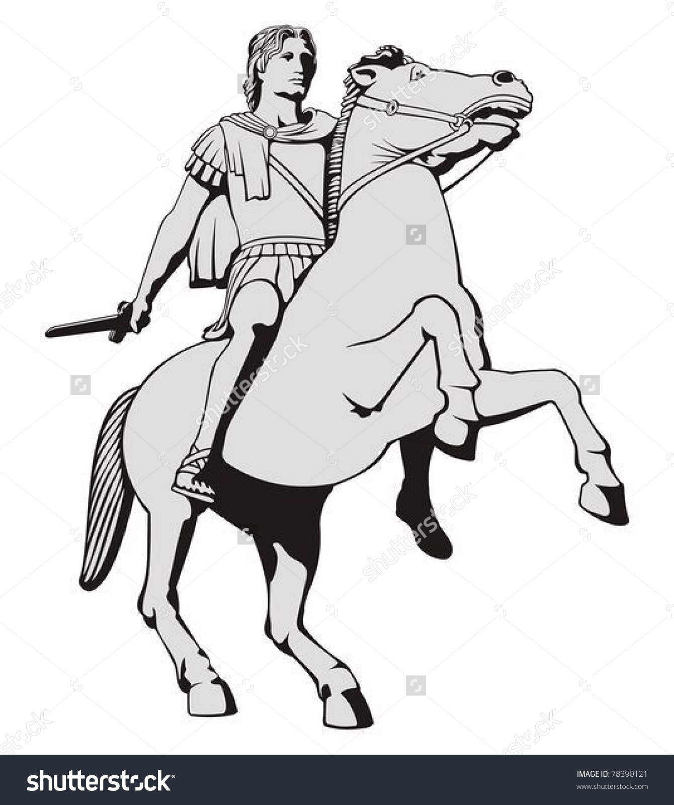 Illustration Alexander Great Riding His Horse Stock Vector.